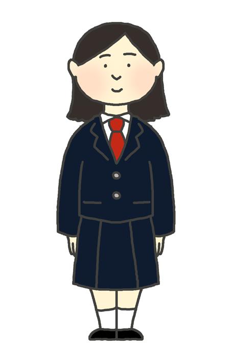 学生服(ブレザー冬服)の女の子のイラスト