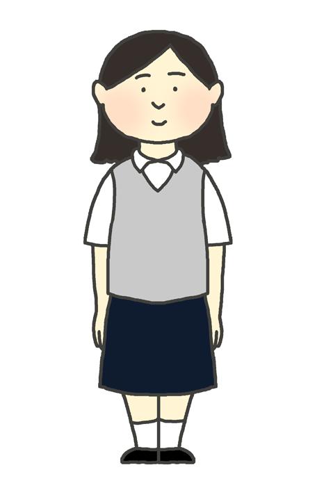 学生服(ブレザー夏服)の女の子のイラスト