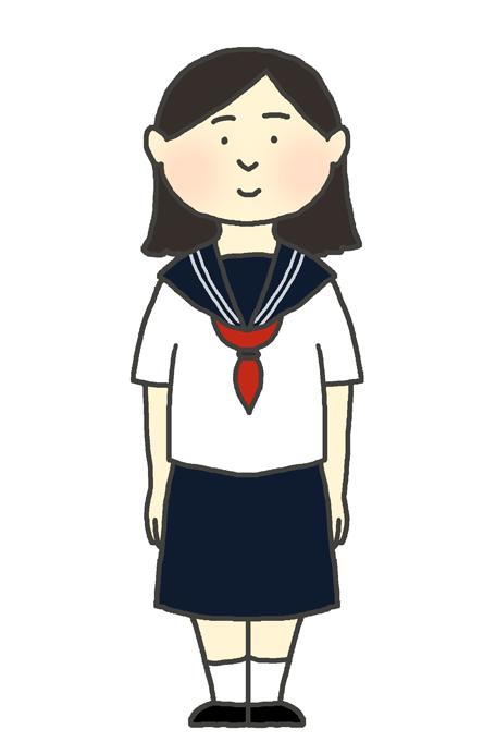 学生服(セーラー服冬服)の女の子のイラスト
