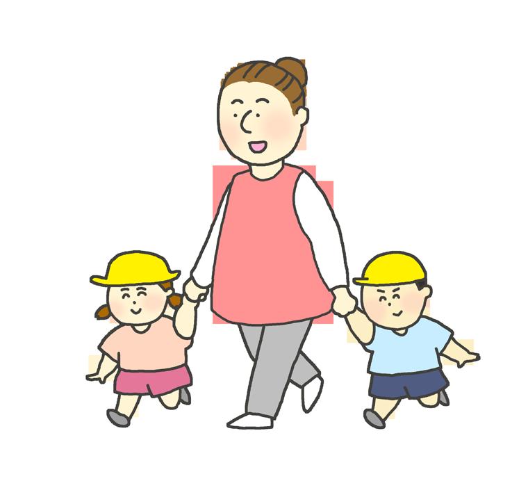 保育士と手をつないで歩く子どものイラスト