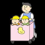 保育カートに乗る子供のイラスト