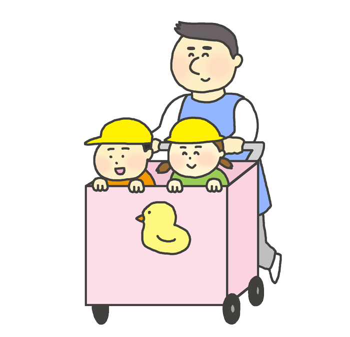 保育カートに乗る子供(男の子と女の子)のイラスト