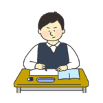 授業を受ける男子学生のイラスト