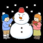 雪だるまをつくって遊ぶこどもたちのイラスト