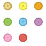 色々な色あいのボタンのイラスト