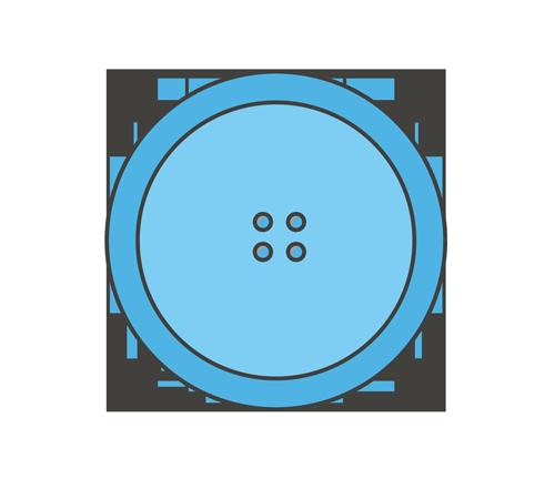 水色のボタンのイラスト
