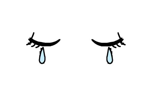 悲しんでいる目のイラスト