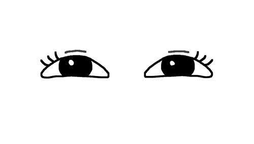 ニヤニヤした目のイラスト