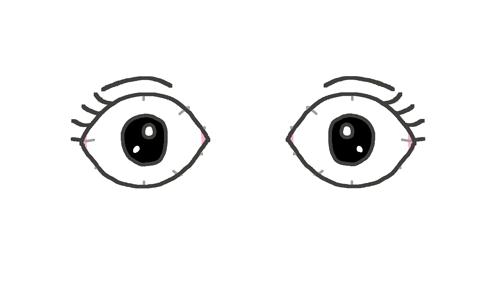驚いた目のイラスト