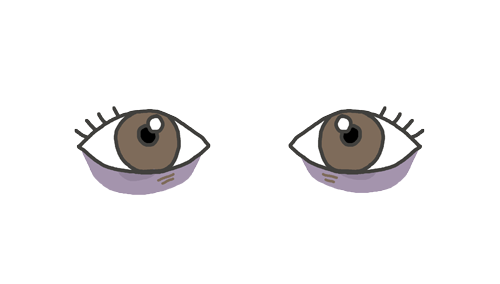 クマができている目のイラスト