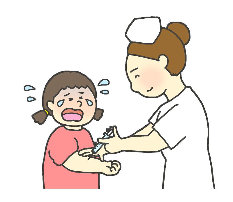 注射が怖くて泣く女の子のイラスト