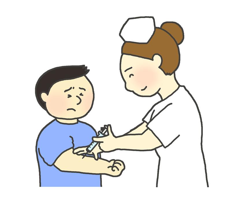 注射を受ける男の子(子ども)のイラスト