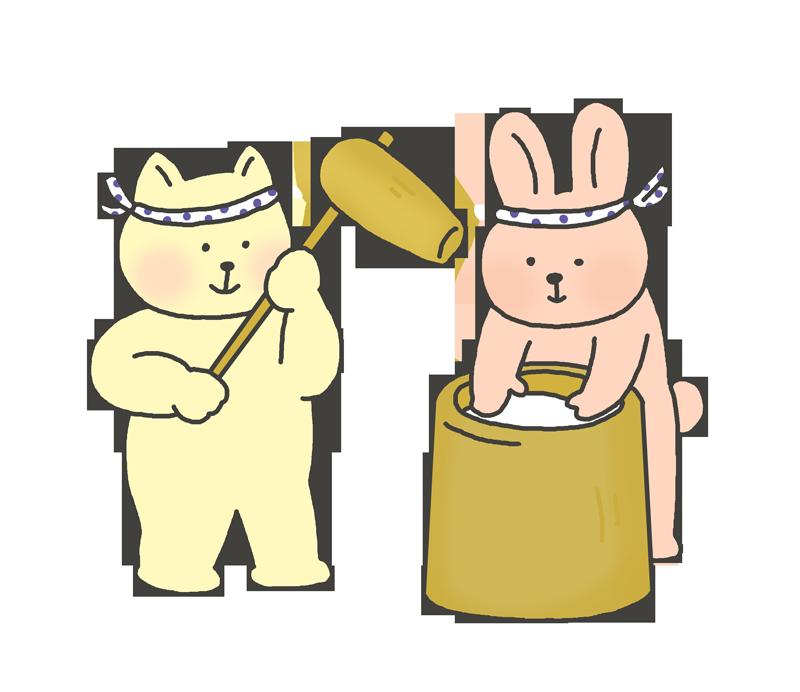 餅つきのイラスト(猫と兎)