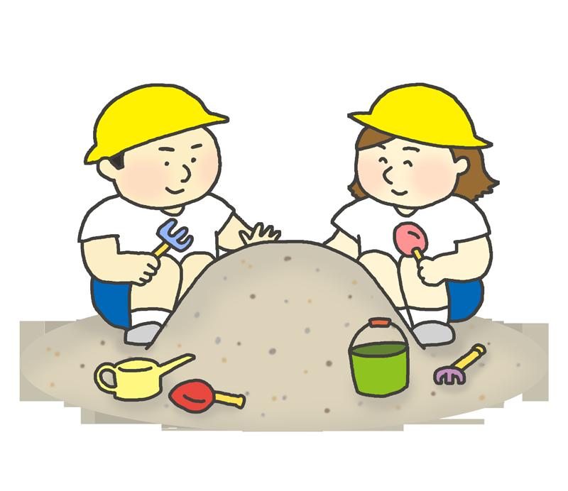 砂遊びをする園児のイラスト