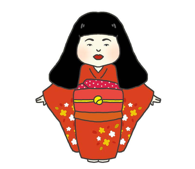 日本人形のイラスト