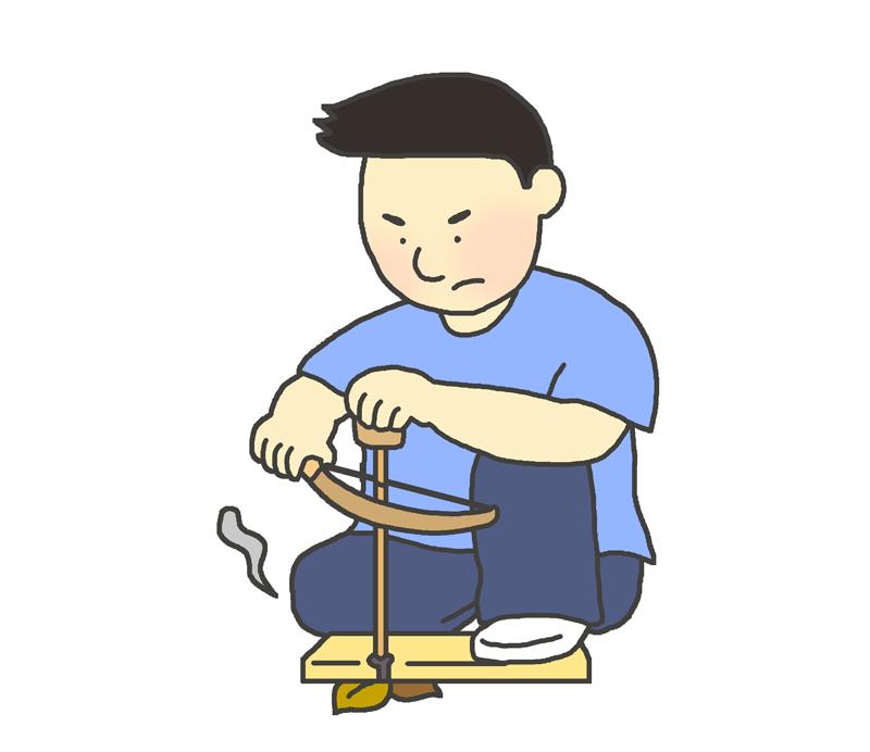 弓切り式火起こしのイラスト