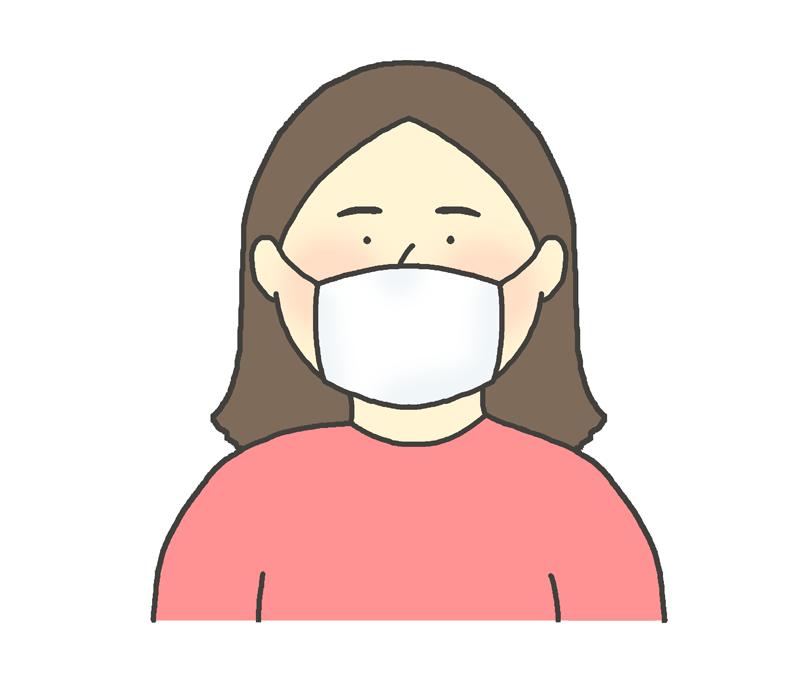 マスクをしている女性のイラスト