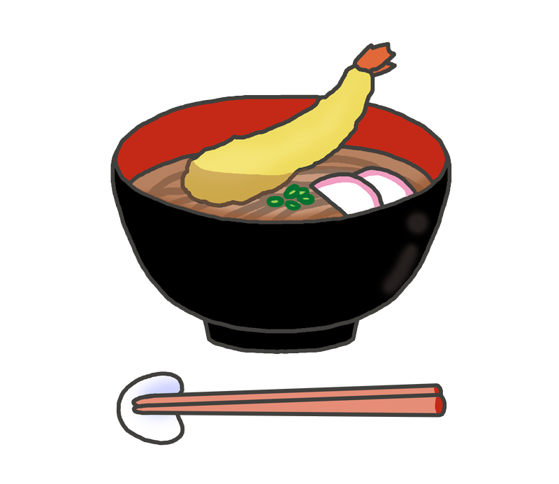 天ぷらそばのイラスト(海老の天ぷら)