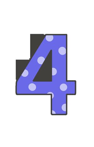 4の文字イラスト(水玉)
