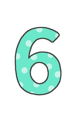 6の文字イラスト(水玉)