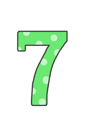 7の文字イラスト(水玉)