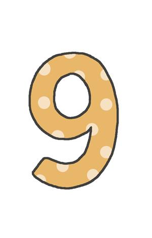 9の文字イラスト(水玉)