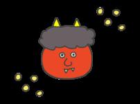 節分の豆と鬼のイラスト