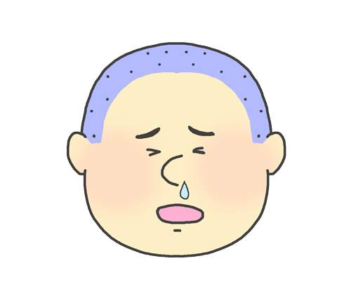鼻水が出ている男の子のイラスト(子供)
