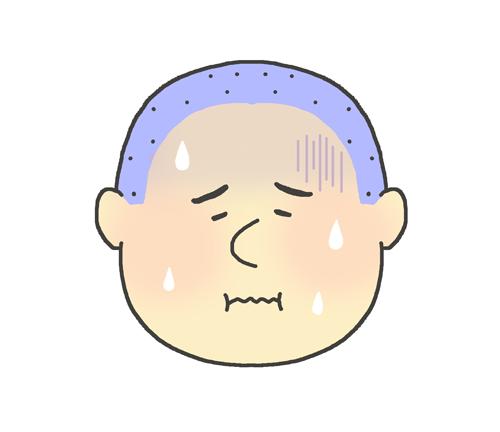 発熱している男の子のイラスト
