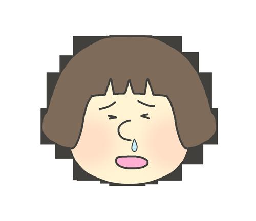 鼻水が出ている女の子のイラスト(子供)