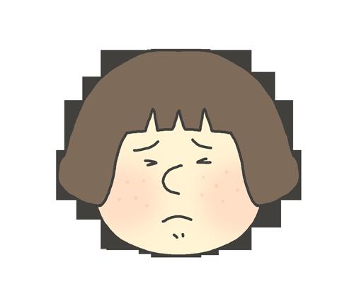 ブツブツが出ている女の子のイラスト