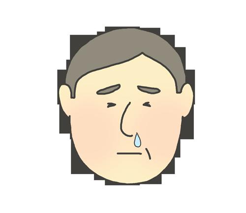 鼻水が出ているおじさんのイラスト