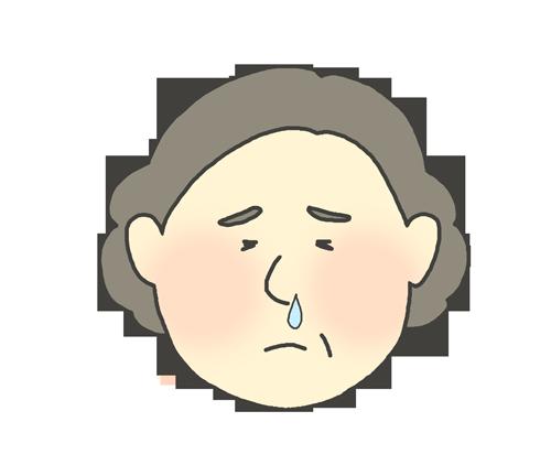 鼻水が出ているおばさんのイラスト