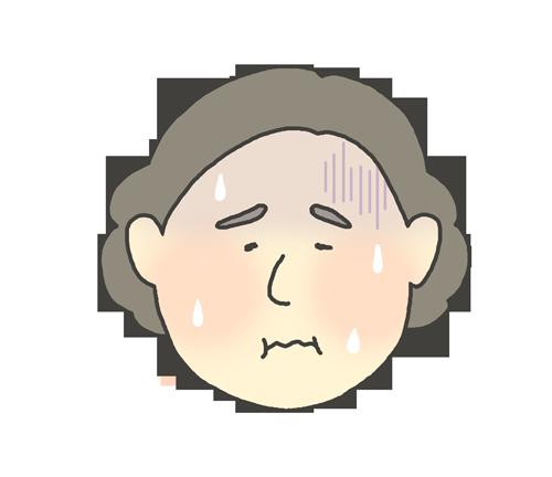 発熱しているおばさんのイラスト