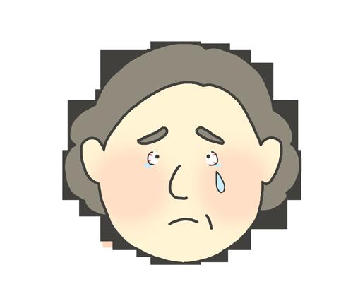 目が赤いおばさんのイラスト