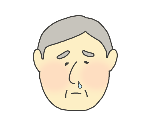 鼻水がでているおじいさんのイラスト