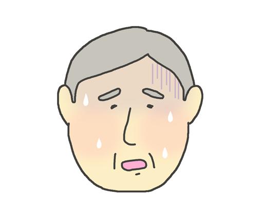 熱が出ているおじいさんのイラスト