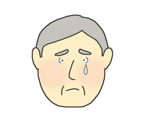 目が赤いおじいさんのイラスト