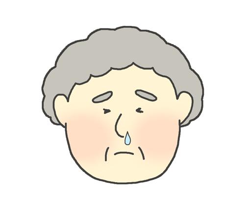 鼻水が出ているおばあさんのイラスト