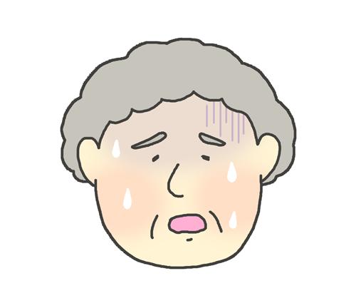 熱が出ているおばあさんのイラスト