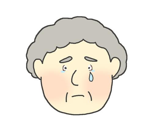 目が赤いおばあさんのイラスト