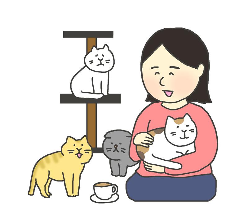 猫カフェのイラスト