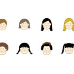 いろいろな髪型の女の子のイラスト