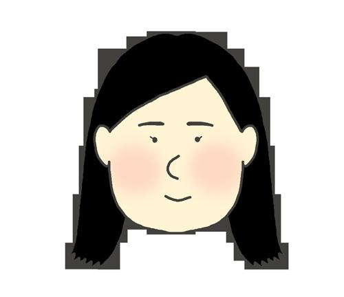 ロングヘア(黒髪)の女の子のイラスト