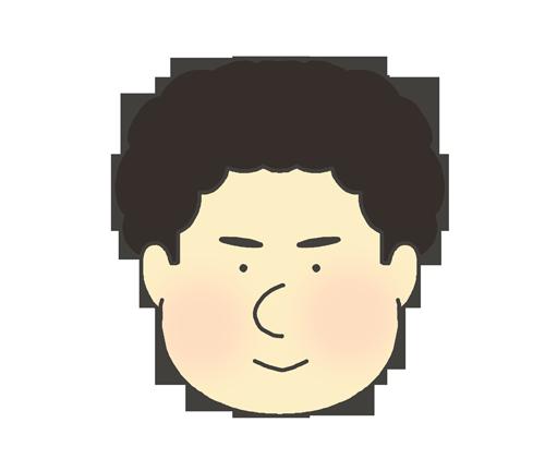 アフロヘア―の男の子のアイコンイラスト