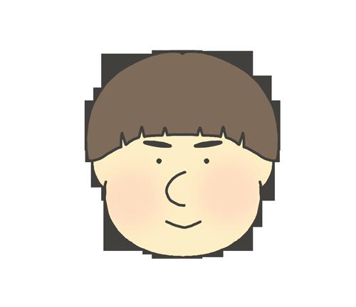 おかっぱヘアーの男の子のアイコンイラスト