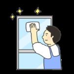 窓ふき掃除のイラスト