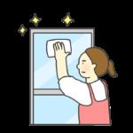 窓ふき掃除のイラスト(女性)
