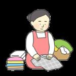 洗濯物をたたむ女性のイラスト