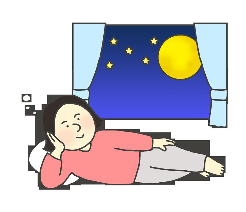 夜更かしする女性のイラスト